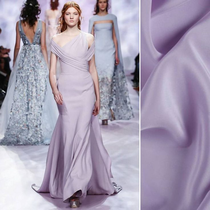 The Spring Couture 2017 collection from Georges Chakra is the epitome of simplistic beauty! Are you pairing any similar pastel shades with an interesting silhouette? Try a lavender fog silk crepe de chine! Item #PV1200-119 on moodfabrics.com.   #fabric #fabricshopping #moodfabrics #mood #fashion #instafashion #lovetosew #sewing #fashiondesign #summer #spring #inspiration #trends #colorful #color #colors #highfashion #eveningwear #formal #gown #luxury #garmentdistrict #designer #runway #style