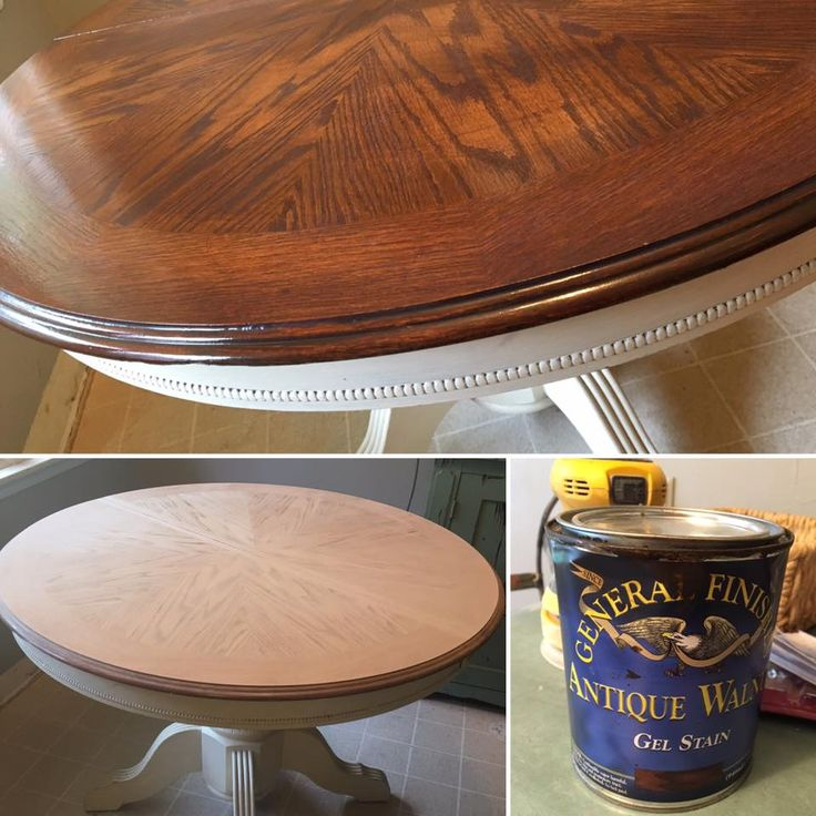 """""""I decided to sand down my kitchen table and restain it with General Finishes Gel Stain in Antique Walnut, the same can I used on my fiberglass front door posted a few weeks ago...then 4 coats of their Enduro topcoat. The sanding took the most time but still only a half hour...I worked on it off and on throughout the day for a total of maybe an hour. It was done by the time the kids got off the bus and we still ate dinner on it. I wish I had a pic before sanding but I just jumped in and ..."""