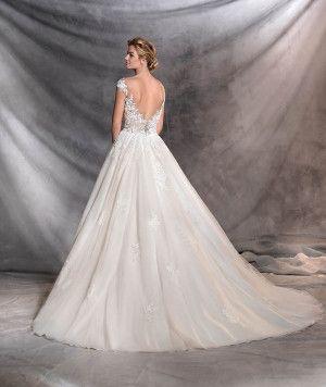 OFELIA - Abito da sposa in stile principessa con motivi floreali