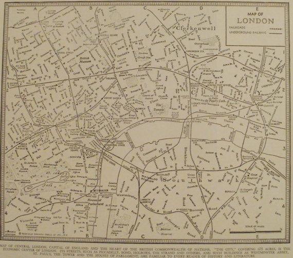 London MapLondon England MapCity Map in by VintageMapWorld on Etsy