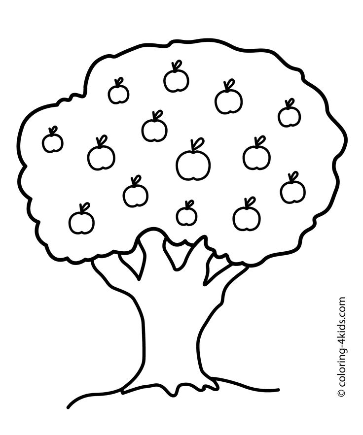 Nature Apple Tree Coloring Page For Kids Printable Free