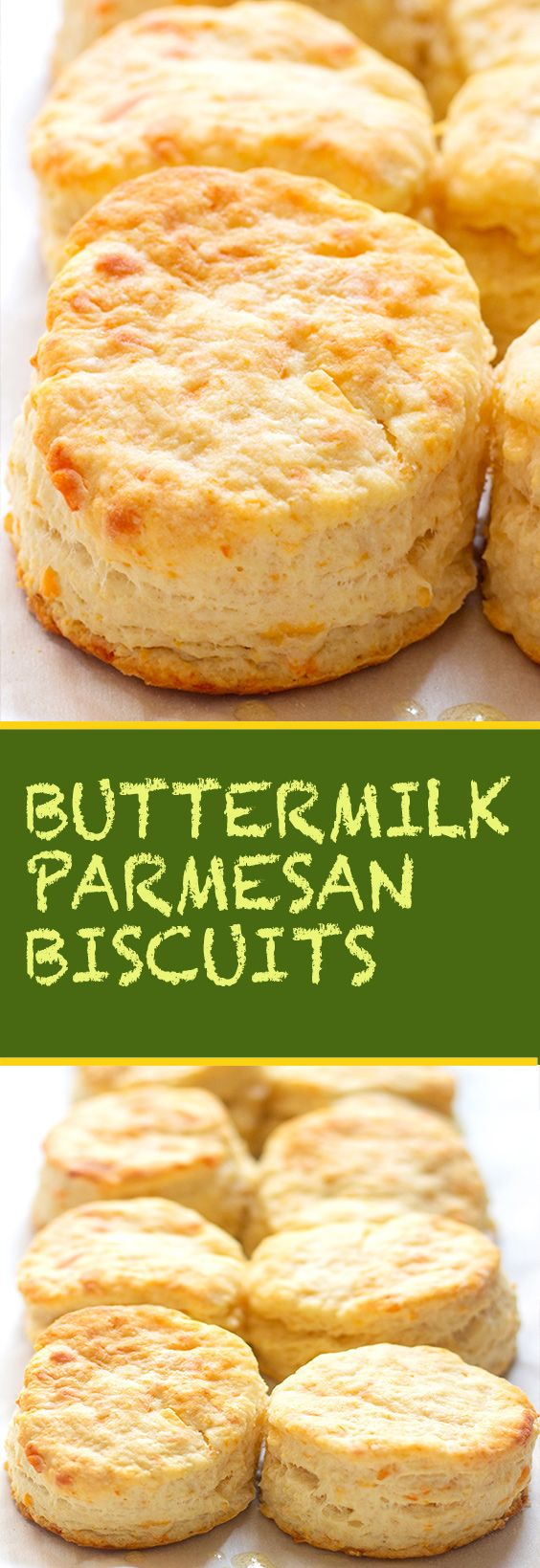 These flaky buttermilk parmesan biscuits are so fluffy and light with the perfect hint of freshly grated parmesan cheese and tangy buttermilk.