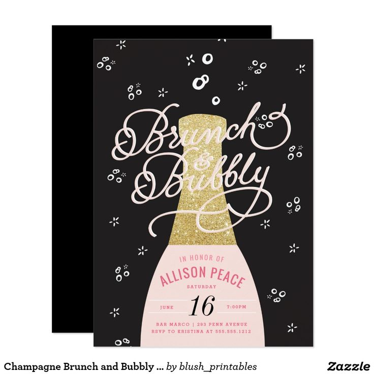 Champagne Brunch and Bubbly Shower Invitation Shower the bride before her big day with one of our personalized Champagne Brunch and Bubbly Bridal Shower invitation. Featuring a hand drawn champagne bottle and darling typography in pink and charcoal grey with gold glitter. We have a wide variety of colors, styles and options to suit every personality, style and budget. Create a personalized bridal shower invitation for a memorable shower she won't forget!