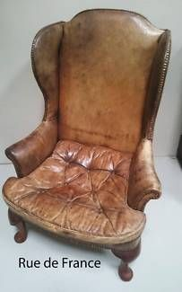 FABULOUS GEORGIAN  STYLE DEEP BUTTON LEATHER WINGBACK ARM CHAIR
