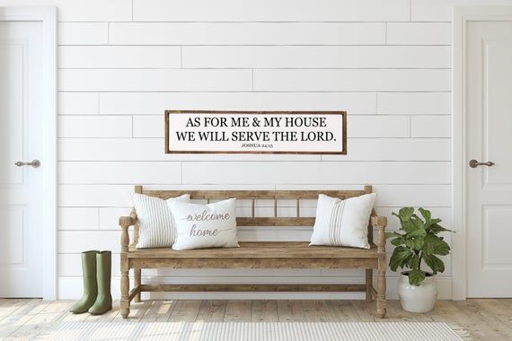 As for me and my house sign | bible verse sign | scripture wall art | Joshua 24:15 | above couch decor | Entryway decor | Farmhouse Decor