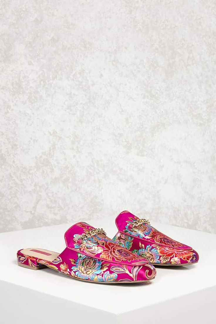Brocade Floral Slide Loafers