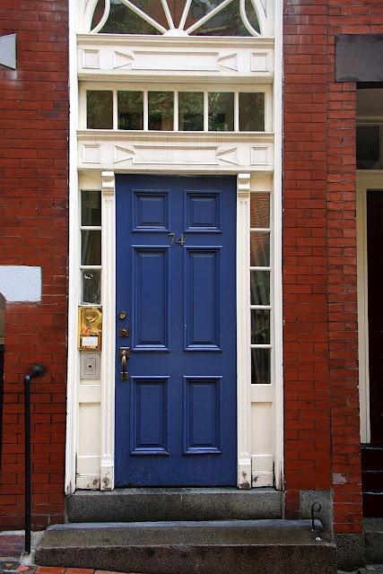 Blue Door With Red Brick For The Home Exterior Door