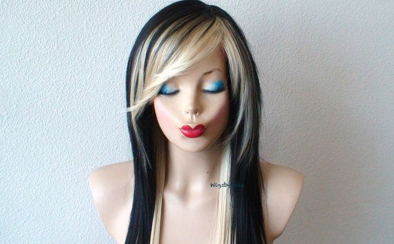 Scene wig. Black Blonde wig. Straight hairstyle long side bangs wig.  Emo wig. Cosplay wig.