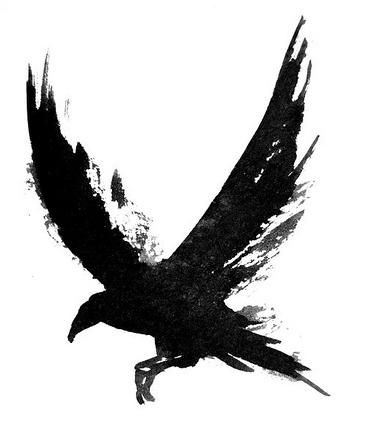 Water Color crow tattoo idea