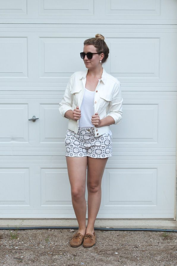 White Jean Jacket and Printed Shorts
