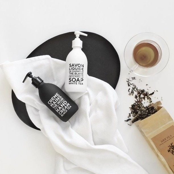 A must have duo this winter available in Black & White Tea ✨ Beautifully styled by @bridget_lee #handsoap #blackandwhite #compagniedeprovence