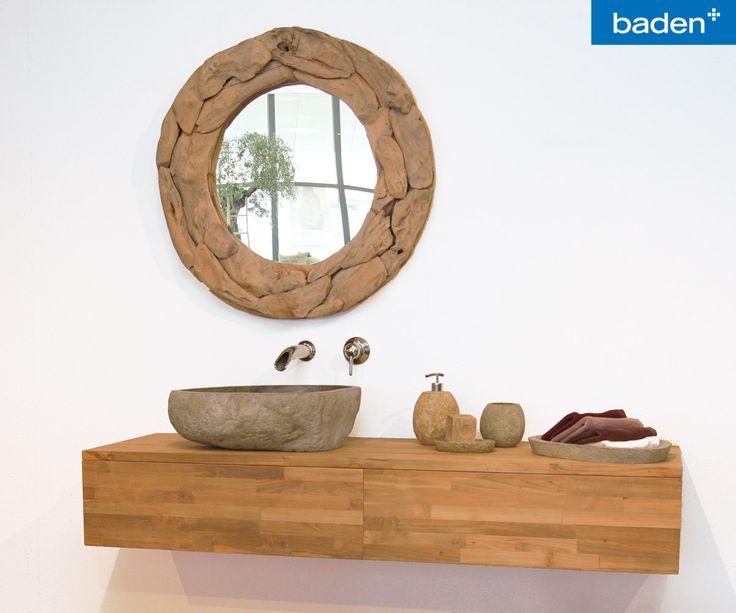 Haal buiten naar binnen met deze bijzondere trog van Teak & Living op een maatwerk badkamermeubel.
