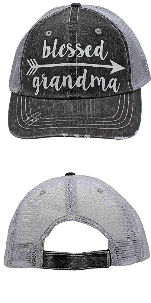 9edf0291d09 Blessed Grandma Arrow Glittering Distressed Trucker Style Cap Hat Rocks any  Outfit (Grandma)