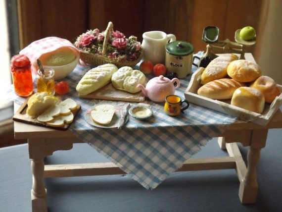 handmade kitchen tables for sale bespoke tiny scale dollhouse table miniature breads food and chairs