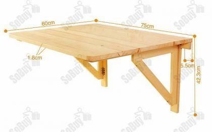 SoBuy FWT05 Wandtisch, Wandklapptisch, Klapptisch, Holztisch, Tisch, 75x60cm, 2 Stützen, - Vorschau 4