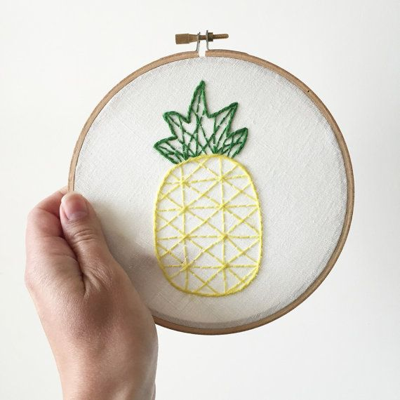 Pinapple Embroidered hoop wall decor home decor by NellieandMolls