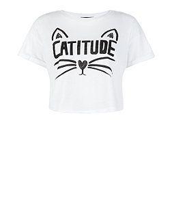 Teens White Catitude Print Crop Top | New Look