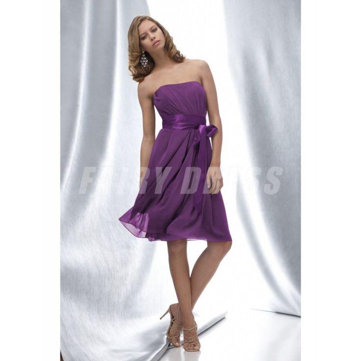 Robe demoiselle d'honneur ruchée sans bretelle en satin longue aux genoux avec ceinture Modèle: WPBD0089  Disponibilité : En stock €65,09
