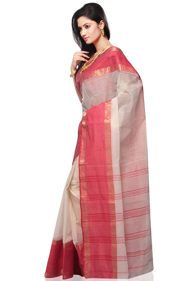"""Buy Red and Off White Cotton Tant Handloom Saree with Blouse online, work: Hand Woven, color: Off White / Red, usage: Festival, category: Sarees, fabric: Cotton, price: <span class=""""Geosymbol"""">`</span>1912.50, item code: SPN1895, gender: women, brand: Utsav"""