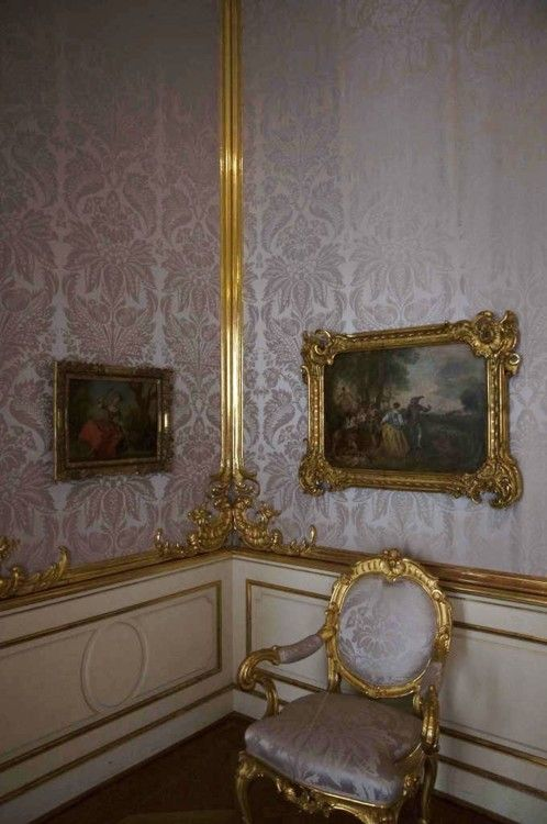 a-l-ancien-regime:    Charlottenburg Palace, 'the grey room': paintings on the wall by Antoine Watteau.