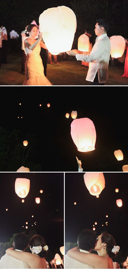 If I were to get married I'd want to let these go in memory of lost loved ones.----Floating lanterns
