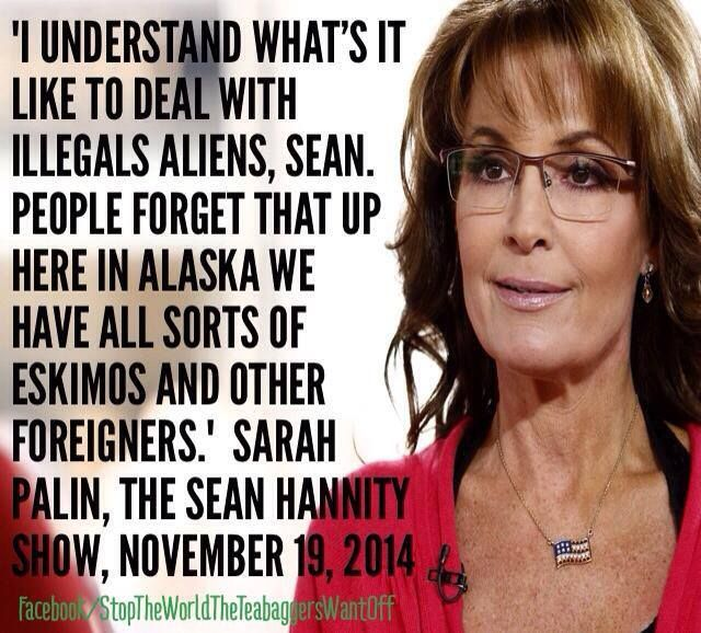 Palin quote.. yes, it's another gem.  The  American Dream,  eh..?  In what other  civilised,  developed  nation  could someone  so  wholly   unqualified  have  ended  up  as their  state  Governor...?  She's even made  Trump  look  halfway  towards intelligent  and reasonable  at times  -  I'm  sure  he's  benefited  by  comparison. (Although  his  face  when  they shared a  podium..even he  was  'wtf'  at  the  nonsense  she  was spewing..)