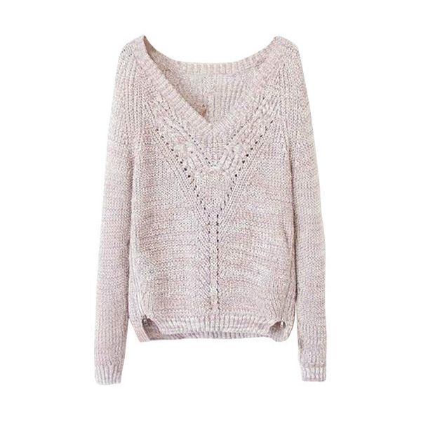 Size-Zip V-Neck Sweater ($35) ❤ liked on Polyvore featuring tops, sweaters, lookbookstore, pink top, v-neck tops, v neck sweater, pink sweater and vneck sweater