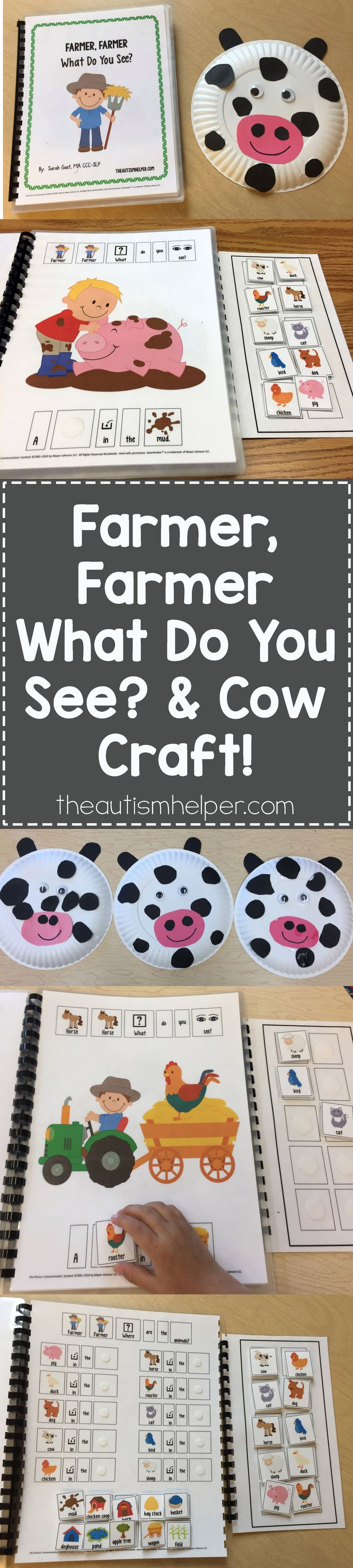 "Sarah's sticking with her farm theme this week & using the adapted book ""Farmer, Farmer What Do You See?"" plus making a Cow Craft out of paper plates. Another great book + activity combo!! From theautismhelper.com #theautismhelper"