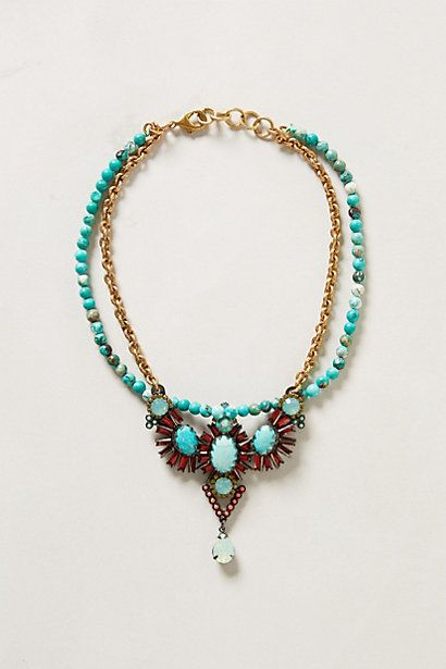 "Vanuatu Necklace #anthropologie. Turquoise, howlite & crystals. 16""L"