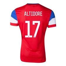 Nike USA 2014 'ALTIDORE 17' Away Replica Soccer Jersey (University Red/ Football