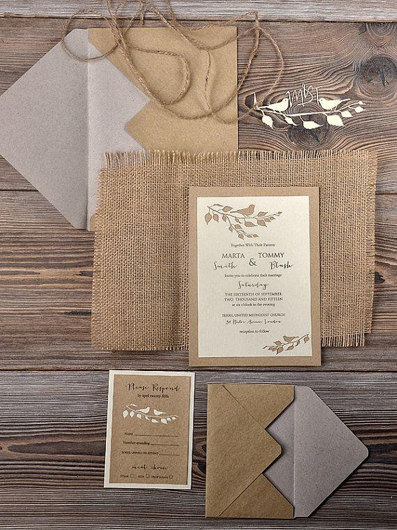Rustic Wedding Invitation Laser cut Invitation by 4LOVEPolkaDots