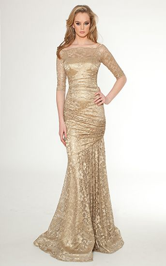 This Gold Floor Length Evening Gown With Lace Overlay Is Fit For A Royal Ruching Along The Bodice Creates Flatterin Gowns Mother Of Bride