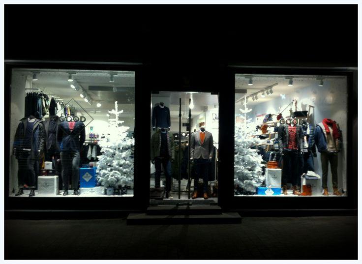 EnaEna Visual Merchandising & Retail Design - christmas window for the store GOOD in Denmark Dec. 2013. #Men #clothing #store VM