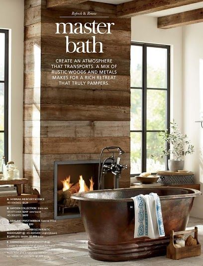 reclaimed wood wall with fireplace  Google Search  Living Area Remodel  Rustic bathroom