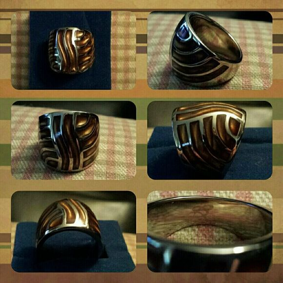 STAINLESS STEEL TIGER EYE STONE RING Huge. Gorgeous.  Size of a quarter.  Marked stainless steel Real tiger eye stones ❤✌ Jewelry Rings