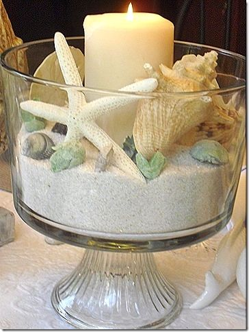 Idea: Beach centerpiece in glass trifle with sand, shells, and candles.