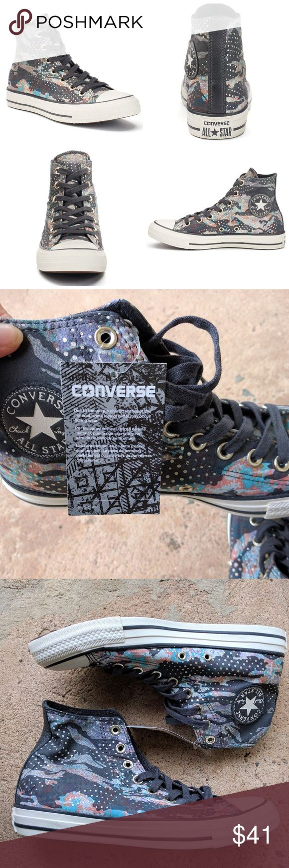 Converse All Star mountain landscape hi top sneake Retails for $60 Converse CTAS Mountain Landscape HI Almost Black / Light gold / Egret 553289C Women's size 9 New without box. Box is damaged. See pics for more details.  Thanks for Stopping by. Converse Shoes Sneakers