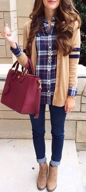 Camel Cardigan + Plaid Shirt + Jeans                                                                             Source