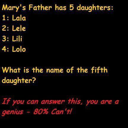 Can you answer this ? #riddle #riddles #puzzle     Marys father     MARYS FATHER.      ITS MARY