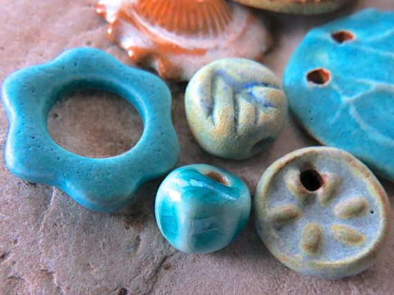 Washed Ashore  Handmade Ceramic Beads by Starry Road Studio