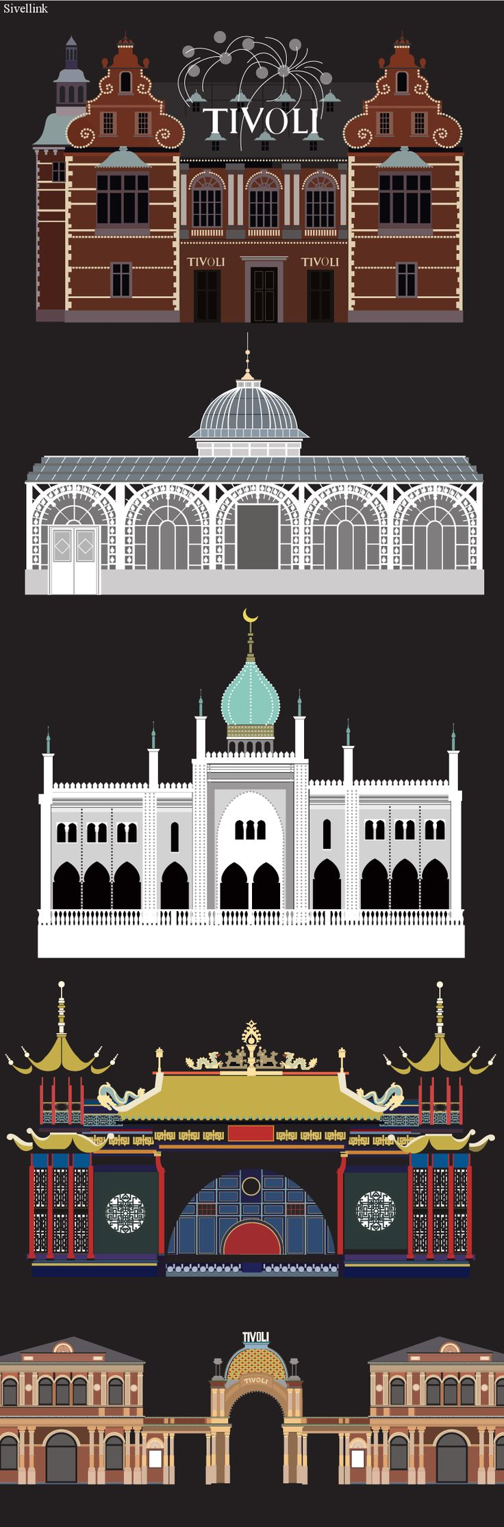 Tivoli-buildings - illustrated by #sivellink Tivoli Gardens is the second-oldest theme park in the world.