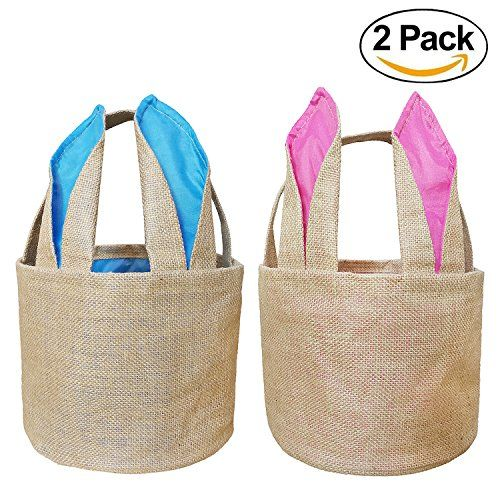 Easter Bunny Basket Egg Baskets for Kids with Cross-stitch Line Burlap Gift Bag Round Tote Jute Bags for Embroidery DIY Daily Use (2 Pack Pink and Blue) FH04