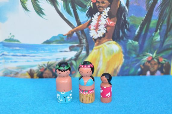 Peg dolls - the Polynesians-Polynesians people - children of the world-family of the world-wooden toys