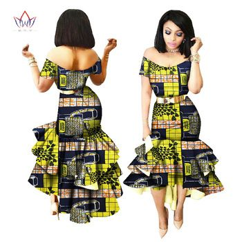 d6be9b1d89b 2018 New African Wax Print Dresses for Women Bazin Riche Cotton Party Dress  Dashiki Sexy African Fashion Clothing WY2205