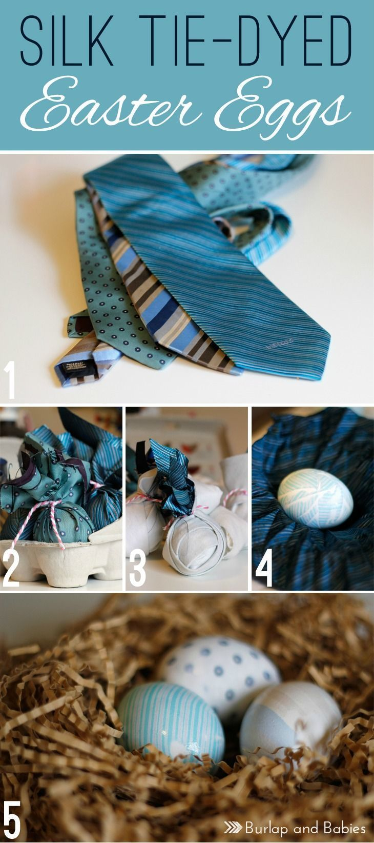 Create these stunning Silk Tie-Dyed Easter Eggs with some old ties from your hubby's closet. They're sure to impress everyone and so simple to make!