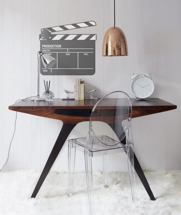 Retro inspired desk/console table with a new classic chair and Copper shade pendant light fixture.