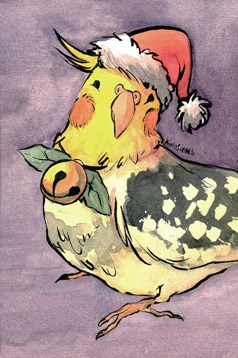 "Cockatiel Christmas: Original 4"" x 6"" Watercolor. $20.00, via Etsy. - I really like the  half-open eyed happy face it's making, just like my 'tiel!"