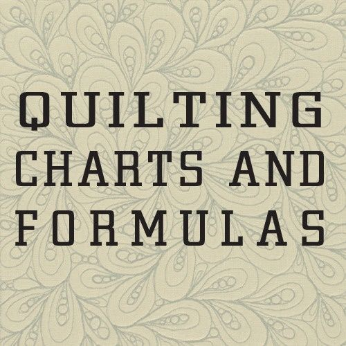 Wonderful set of charts and formulas for quilting...very helpful, everything for reducing/enlarging blocks, standard quilt sizes for different beds, 1/2 square triangle measurements, number of squares (by size) from different yardages, etc.