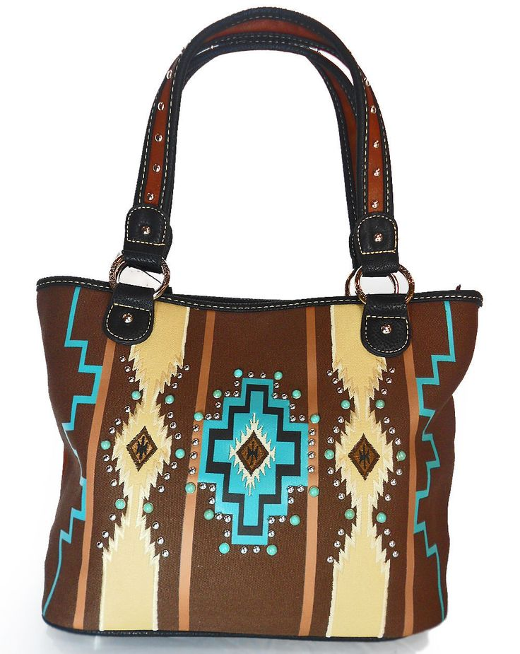 New Montana West® Large Aztec Tote Bag w/ Turquoise Studs - Coffee Multi