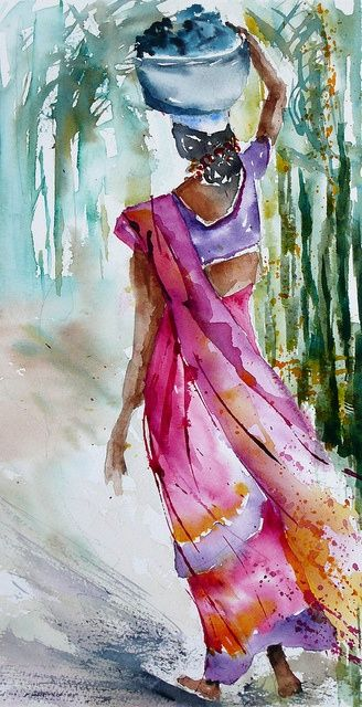 watercolor painting to pin | Watercolor and Oil Painting / In the palm plantation by Veronique ...